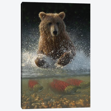 Brown Bear Fishing Hole, Vertical Canvas Print #CBO45} by Collin Bogle Canvas Artwork
