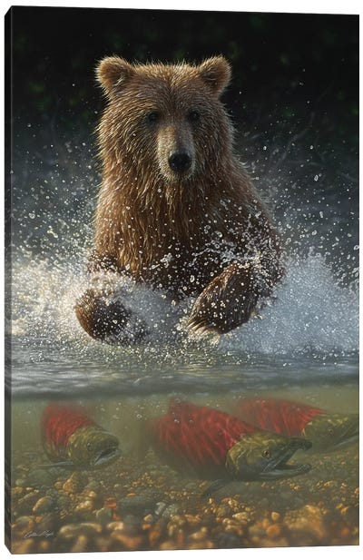 Brown Bear Fishing Hole, Vertical Canvas Art Print