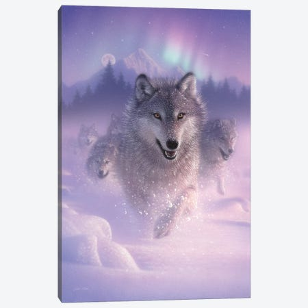Northern Lights - Running Wolves, Vertical Canvas Print #CBO50} by Collin Bogle Canvas Artwork