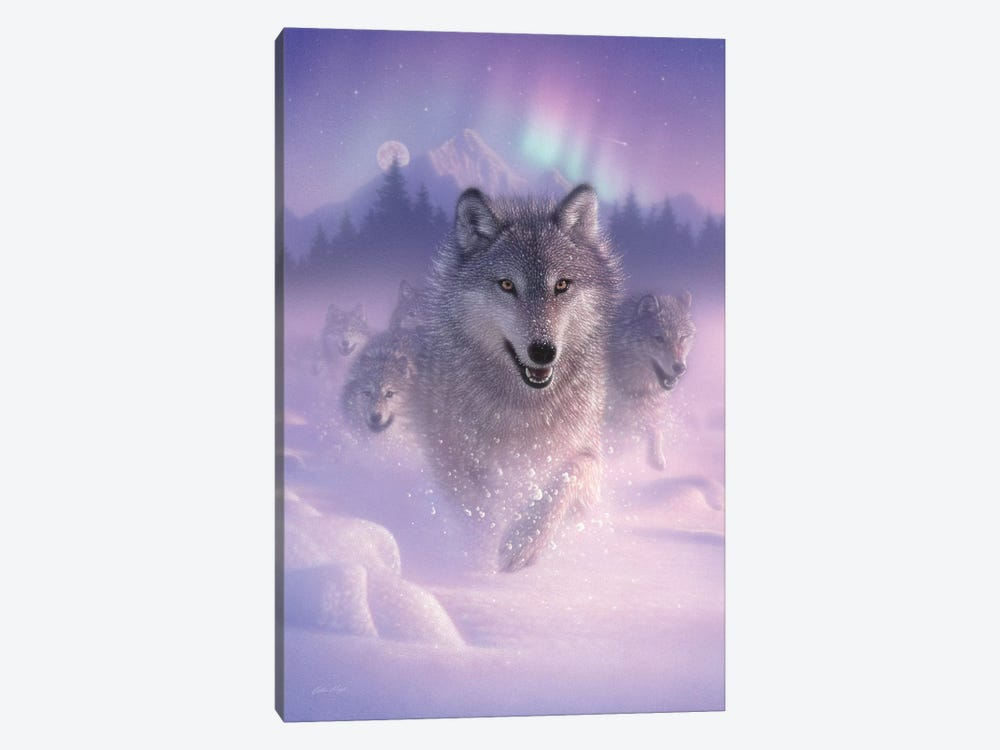 Northern Lights - Running Wolves, Vertical by Collin Bogle 1-piece Canvas Art