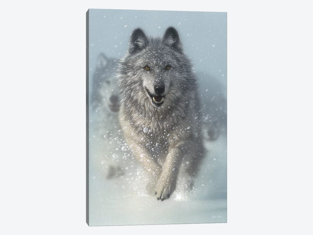 Snow Plow - Running Wolves, Vertical 1-piece Canvas Art