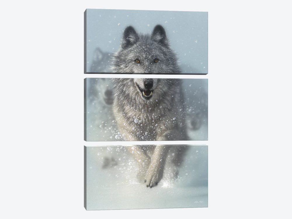 Snow Plow - Running Wolves, Vertical 3-piece Canvas Wall Art