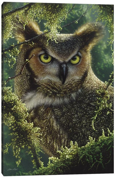 Watching And Waiting - Great Horned Owl, Vertical Canvas Art Print