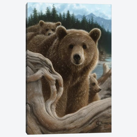 Brown Bears Backpacking, Vertical Canvas Print #CBO8} by Collin Bogle Canvas Wall Art