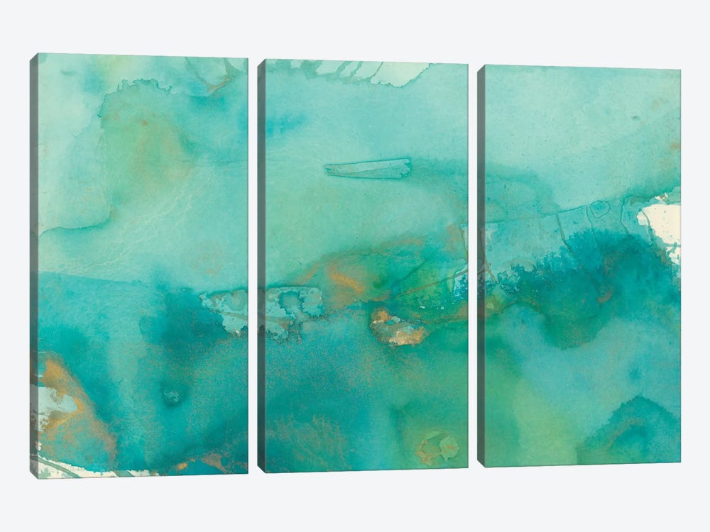 Turquoise Moment III by Joyce Combs 3-piece Canvas Print