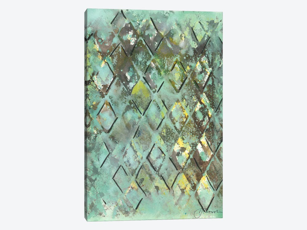 Lattice in Green I by Joyce Combs 1-piece Canvas Print