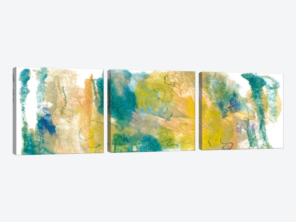 Teal & Scribbles I by Joyce Combs 3-piece Canvas Art