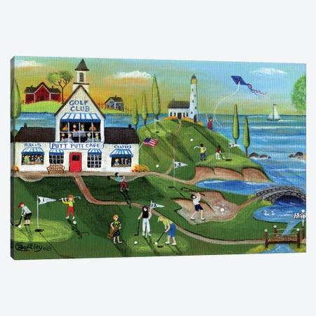 Golf Club Folk Art Canvas Print #CBT106} by Cheryl Bartley Art Print