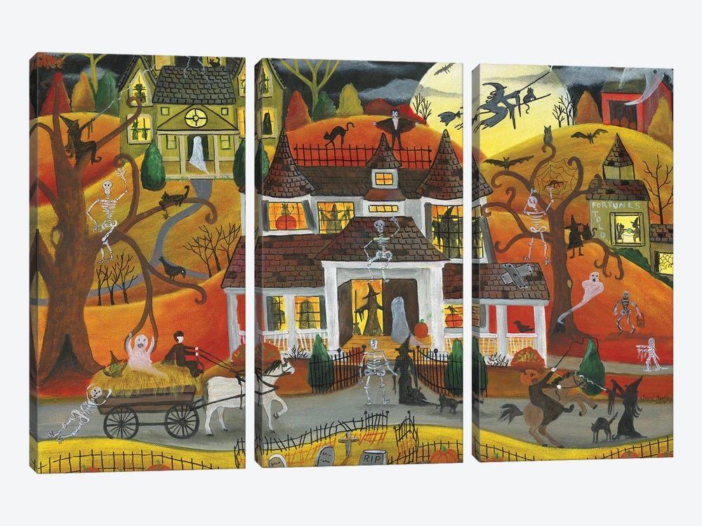 Halloween Fright Night by Cheryl Bartley 3-piece Canvas Wall Art