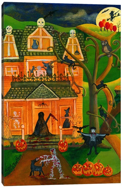 Halloween Skull House Canvas Art Print