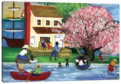 African American Summertime Homestead Canvas Art Print