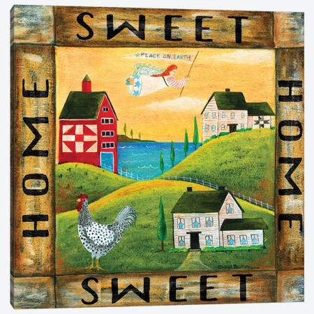 Home Sweet Home 2 Square 3-Piece Canvas #CBT121} by Cheryl Bartley Canvas Wall Art