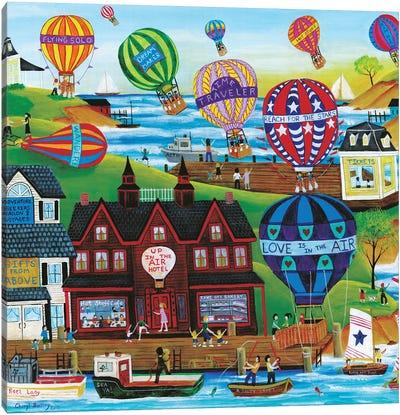Hot Air Balloon Seaside Village Canvas Art Print