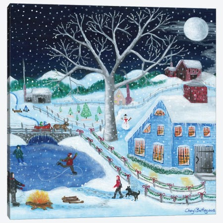 Ice Skating By Old Farm Canvas Print #CBT128} by Cheryl Bartley Canvas Artwork