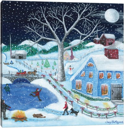 Ice Skating By Old Farm Canvas Art Print