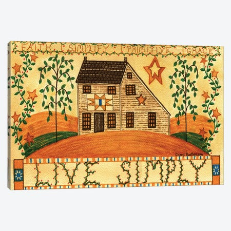 Live Simply Folk Art Canvas Print #CBT135} by Cheryl Bartley Canvas Artwork