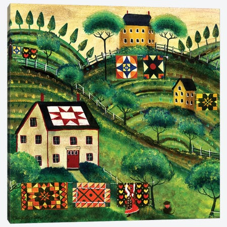 Mama's Country Quilt Houses On Harvest Hills 3-Piece Canvas #CBT138} by Cheryl Bartley Art Print