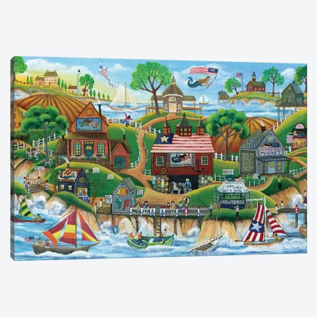 Mermaid Village by the Sea Canvas Print #CBT140} by Cheryl Bartley Canvas Wall Art
