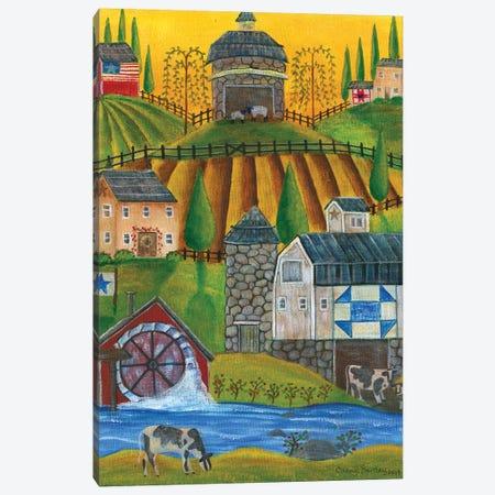 Old Stone Folk Art Farm Canvas Print #CBT148} by Cheryl Bartley Canvas Artwork