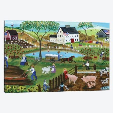 Old Tyme Americana Country Farmyard Canvas Print #CBT149} by Cheryl Bartley Canvas Artwork