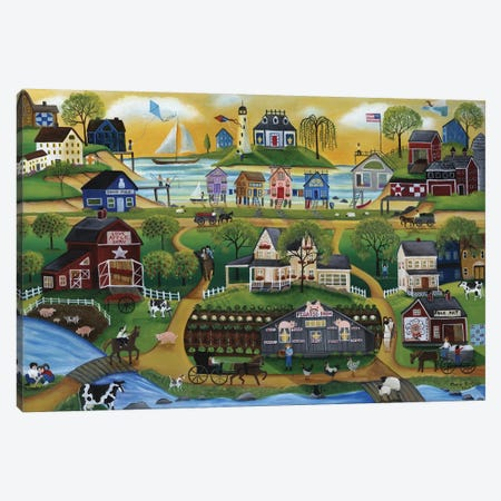 Pigasso Folk Art Farm Canvas Print #CBT160} by Cheryl Bartley Canvas Art