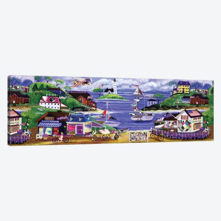 Primitive American Angel and Crazy Quilt Seaside Village Canvas Print #CBT163} by Cheryl Bartley Canvas Wall Art
