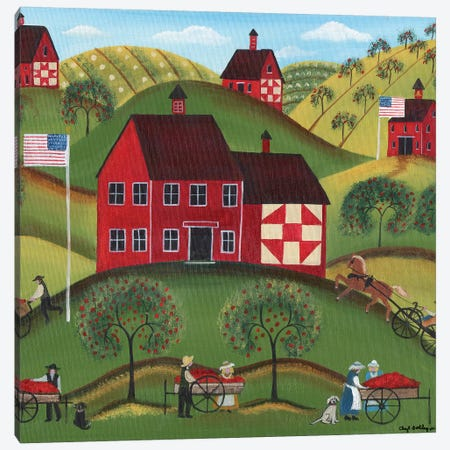 Primitive Americana Red Apple Barn 3-Piece Canvas #CBT167} by Cheryl Bartley Canvas Print