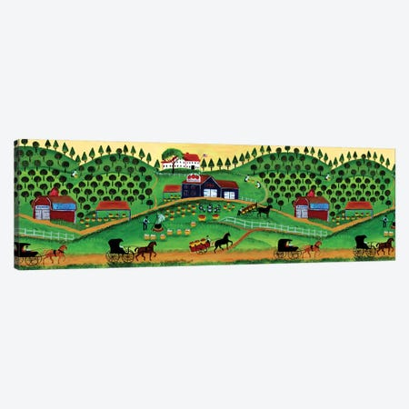 Primitive Apple Cider Makers Border Canvas Print #CBT170} by Cheryl Bartley Art Print