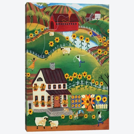 Primitive Quilt Maker House Sunflower Canvas Print #CBT172} by Cheryl Bartley Art Print