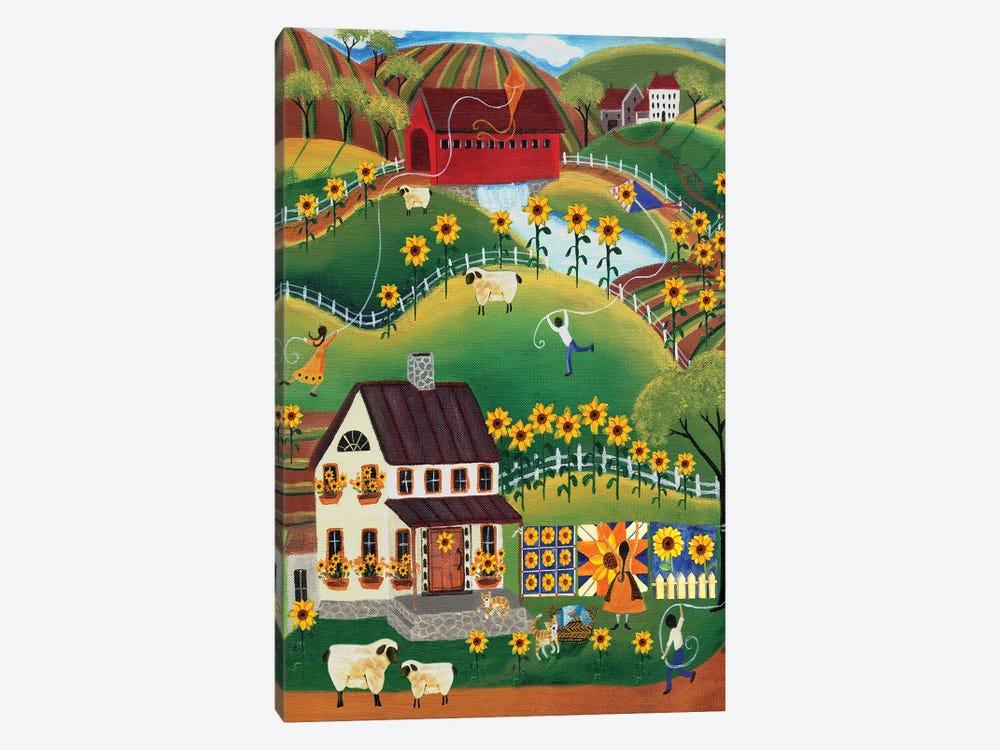 Primitive Quilt Maker House Sunflower by Cheryl Bartley 1-piece Art Print