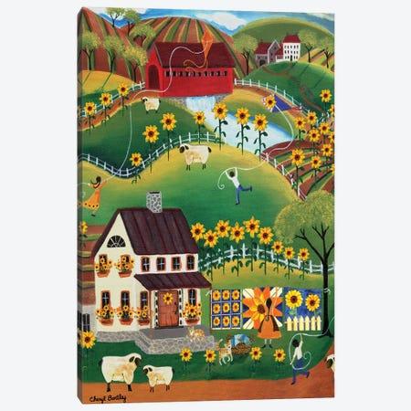 Primitive Quilt Maker House Sunflower Sheep Cheryl Bartley Canvas Print #CBT173} by Cheryl Bartley Canvas Art Print