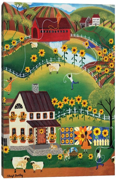 Primitive Quilt Maker House Sunflower Sheep Cheryl Bartley Canvas Art Print