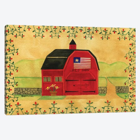 Primtive American Red Barn 3-Piece Canvas #CBT177} by Cheryl Bartley Canvas Artwork
