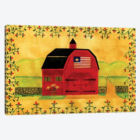 Primtive American Red Folk Art Barn 3-Piece Canvas #CBT178} by Cheryl Bartley Canvas Print
