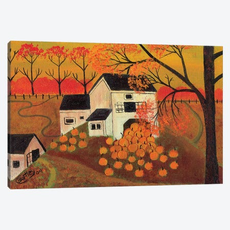 Pumpkin Barn Autumn Folk Art Cheryl Bartley Canvas Print #CBT179} by Cheryl Bartley Canvas Art Print