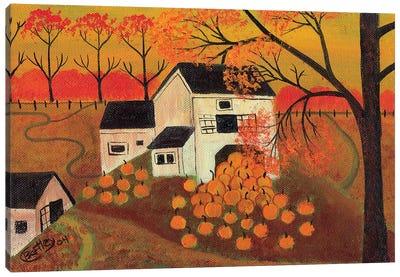 Pumpkin Barn Autumn Folk Art Cheryl Bartley Canvas Art Print