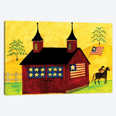 American Folk Art Barn Canvas Print #CBT17} by Cheryl Bartley Canvas Artwork