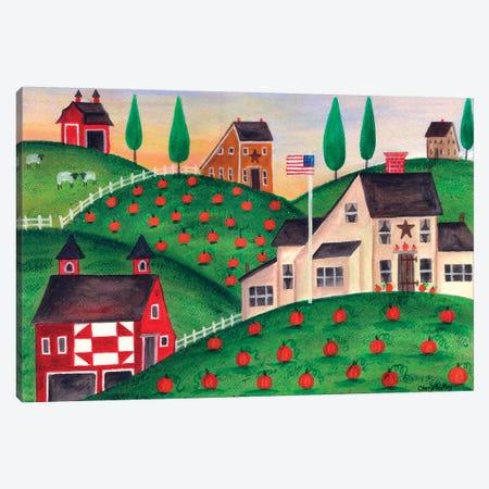 Pumpkin Red Barn Folk Art Cheryl Bartley Canvas Print #CBT184} by Cheryl Bartley Canvas Print