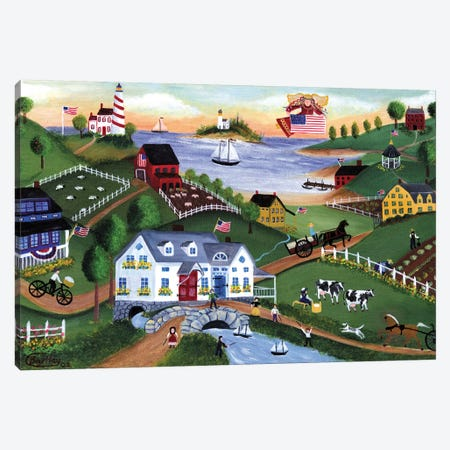 American Folk Art Seadise With Angel Canvas Print #CBT18} by Cheryl Bartley Art Print