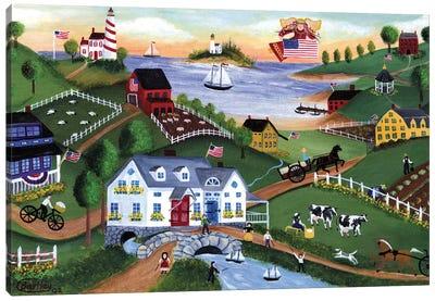 American Folk Art Seadise With Angel Canvas Art Print