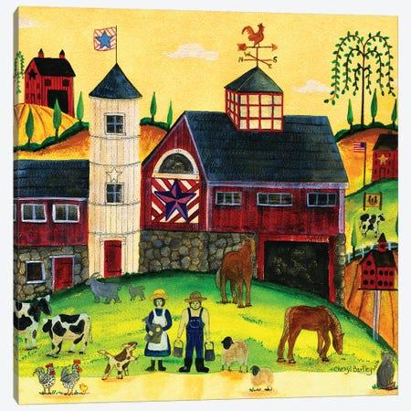 Red Barn Farmyard Folk Art Canvas Print #CBT192} by Cheryl Bartley Canvas Print