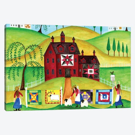 Red Barn Quilt House Canvas Print #CBT194} by Cheryl Bartley Canvas Artwork