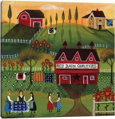 Red Barn Quilters Canvas Art Print