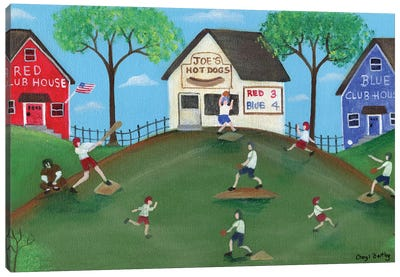 Red Blue Baseball Game Canvas Art Print