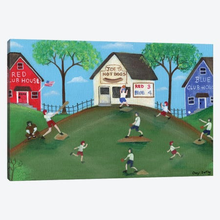 Red Blue Baseball Game 3-Piece Canvas #CBT197} by Cheryl Bartley Canvas Artwork