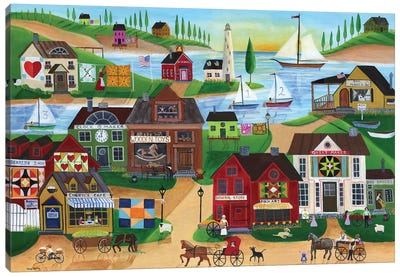 Seaside Village With Wooden Toy Maker Sail Boats Canvas Art Print