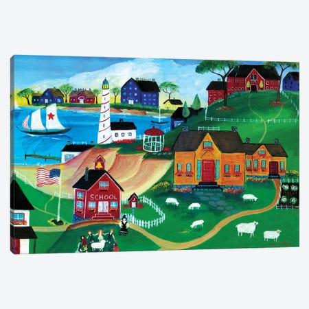 Sheep At Seaside School Canvas Print #CBT209} by Cheryl Bartley Canvas Art Print