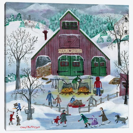 Snowy Maple Syrup Makers and Ice Skaters Canvas Print #CBT211} by Cheryl Bartley Canvas Wall Art