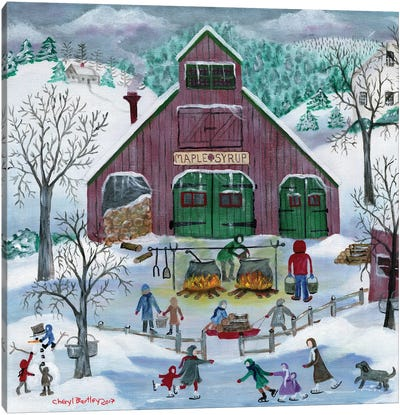 Snowy Maple Syrup Makers and Ice Skaters Canvas Art Print