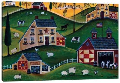 American Organic Herb  Sheep Cow Farmland Canvas Art Print